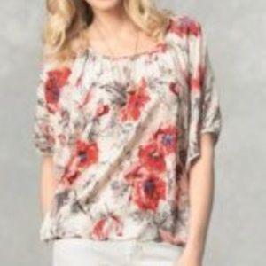 CABI #399 Floral Gypsy Dolman Silk Blouse